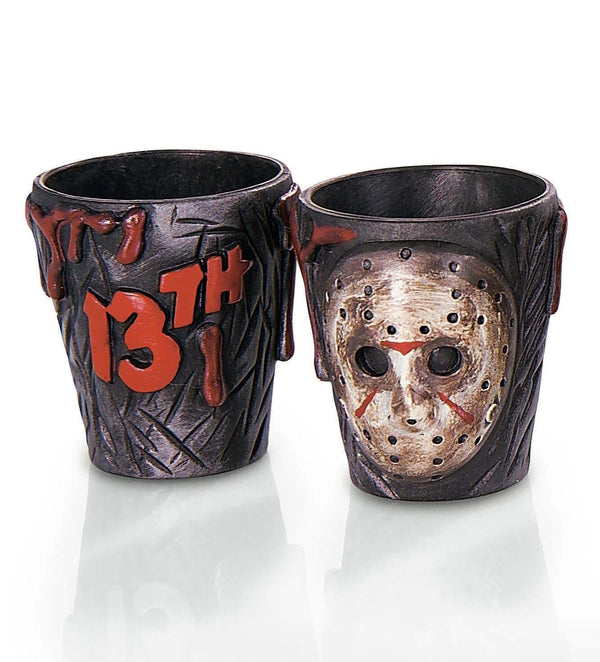 These Friday the 13th Jason Voorhees shot glasses have a tan hockey mask on the front and the logo in red letters on the back.