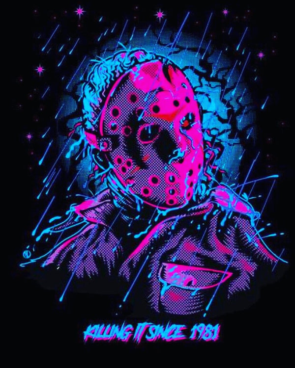 This is a Friday the 13th Jason Voorhees sticker and he has a blue head, pink mask, pink and purple shirt and it is raining.