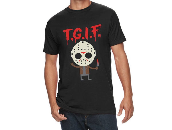 There is a guy wearing a men's black shirt, that has a cartoon picture of Jason Voorhees and says TGIF in red letters.
