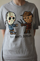 FRIDAY THE 13TH - Adult Rock Beats Scissors Jason And Freddy T-shirt, Men's-T-shirt-1-Classic Horror Shop