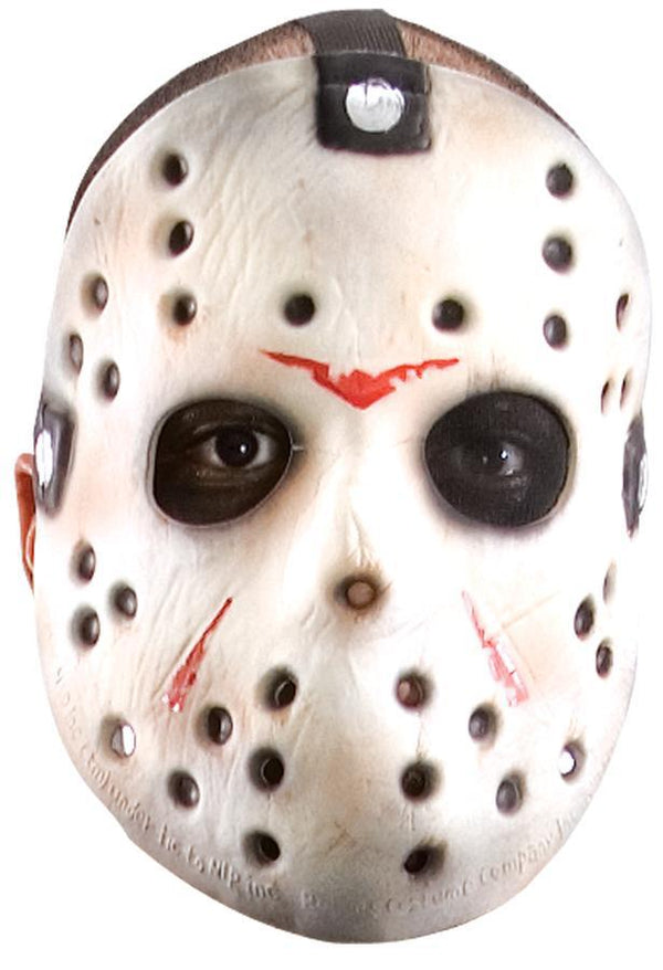 This is a Friday the 13th Jason Voorhees white hockey mask with red marks and three head straps.