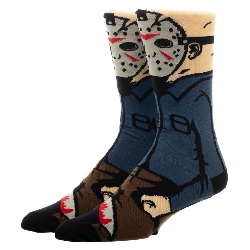 This is a pair of Friday the 13th Jason Voorhees socks and he has a white hockey mask, blue shirt, brown pants and a bloody machete.