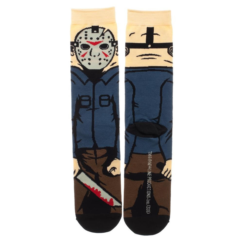This is a pair of Friday the 13th Jason Voorhees 360 socks and he has a white hockey mask, blue shirt, brown pants and a bloody machete.