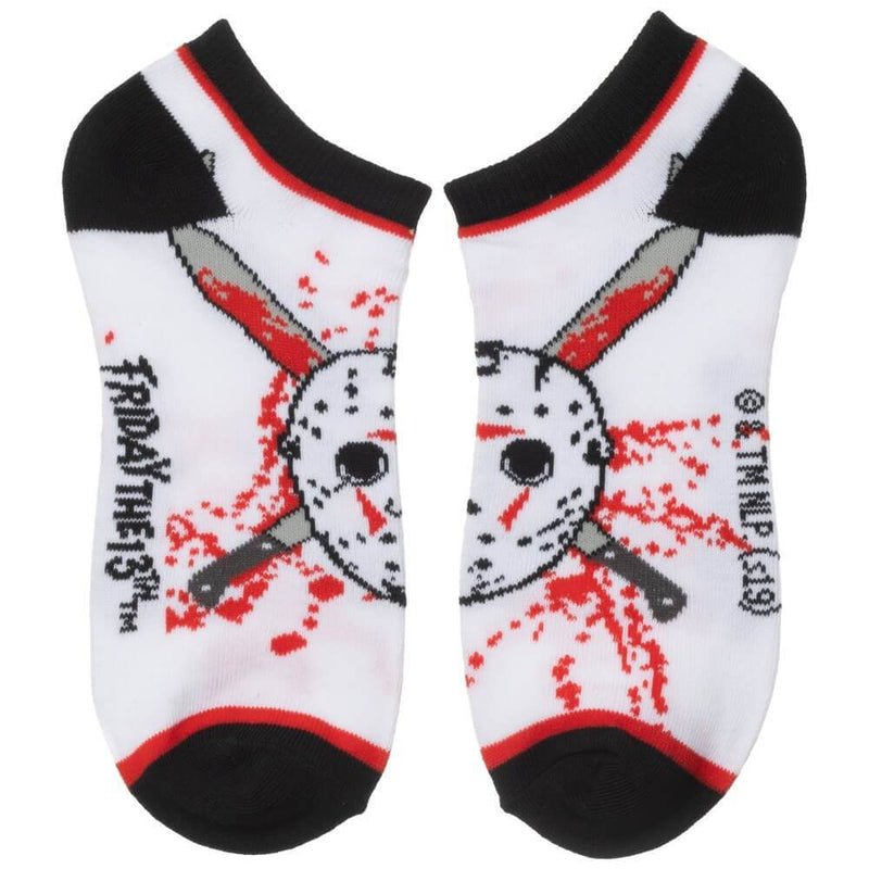 This is in a 5 pack of Friday the 13th ankle socks and these are white with a Jason Voorhees hockey mask and machetes..