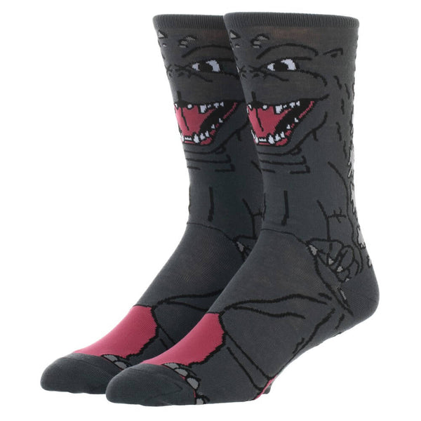 These are socks with Godzilla printed on them and he is grey with pointy teeth.