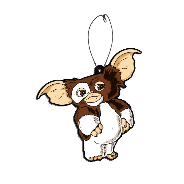 This is a Gremlins Gizmo air freshener and he is brown and white with big ears.