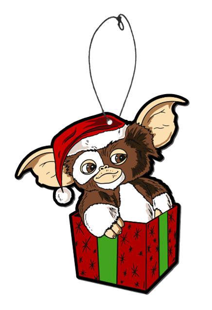 This is a Gizmo Gremlins air freshener and he has brown and white fir with a red hat with a white ball, while sitting in a red box with green ribbon.