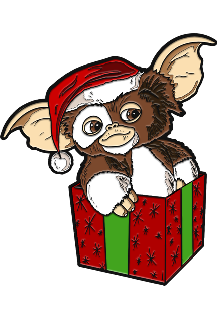 This is a Gizmo Gremlins enamel pin and he has brown and white fir with a red hat with a white ball, while sitting in a red box with green ribbon.