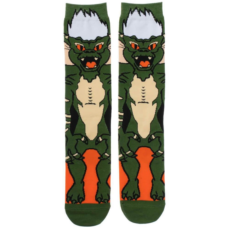 This is a pair of Gremlins Spike 360 printed socks and he is green with white spikey hair and orange eyes.