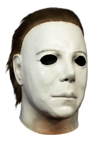This is a Halloween 1978 Boogeyman Michael Myers Mask that is white, with brown hair and tan neck.
