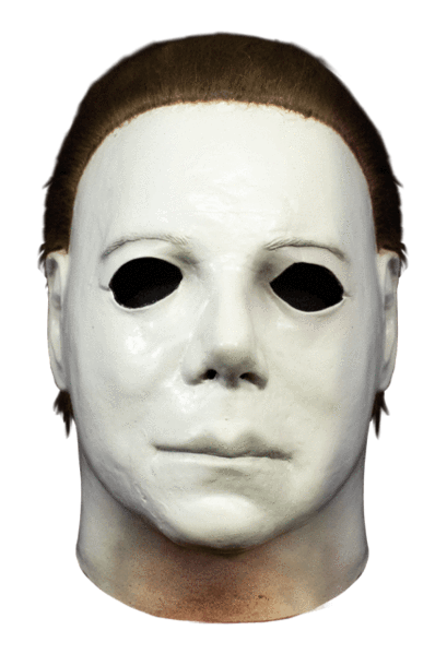 This is a Halloween Boogeyman Michael Myers Mask that is white, with brown hair.