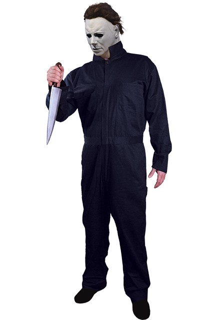 This is a Halloween 1978 Michael Myers blue coverall, with a white mask, knife and black boots.