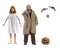 This is a Halloween 2 NECA action figure of Dr Samuel Loomis, who is wearing a tan coat and brown pants and Laurie Strode, who is wearing a hospital gown and they have guns and a pumpkin.