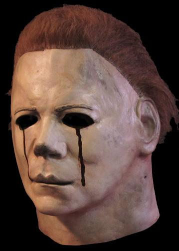 This is a Halloween 2 Michael Myers mask that is white, with brown hair and red blood tears.