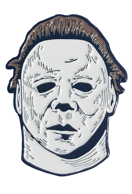 This is a Halloween II Michael Myers enamel pin that is a white face, brown hair and black eyes.