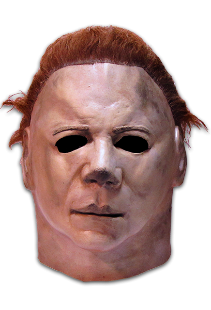This is a Halloween II Michael Myers mask, that is white with brown hair and eye holes.