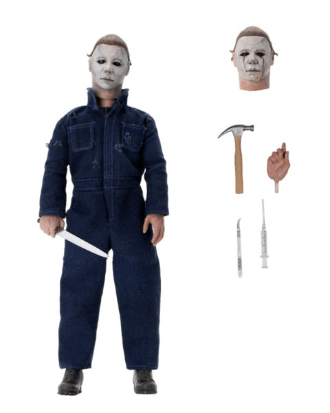 This is a neca Halloween II Michael Myers action figure and he has a white mask, green coveralls, a white mask with blood tears, a knife, a hammer and a scalpel.