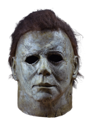 This is a Halloween 2018 Michael Myers mask that is grey and weathered and has brown hair and black eyes.