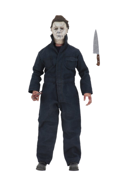 "This is a NECA 8"" clothed action figure from Halloween 2018 of Michael Myers, who is wearing a grey mask, grey coveralls and has a knife."