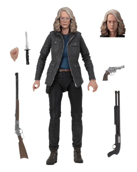 "This is a HALLOWEEN 2018 NECA 7"" Scale Action Figure Ultimate Laurie Strode that includes a head, knife, gun, 2 rifles and a hand."