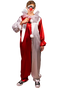 This is a woman in a Halloween 4 Return of Michael Myers Jaime Lloyd Halloween costume that is red and white with white balls, a mask with a red nose and she has a knife in her hand.