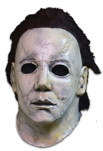 This is a Halloween 6 Curse of Michael Myers mask that is white with brown hair and black eyes.