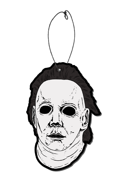 This is a Halloween 6 Curse of Michael Myers air freshener of a white face with brown hair and black eyes and it has a plastic hanger.