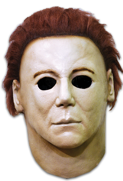 This is a Michael Myers Halloween H20 Mask that is white with brown hair and black eyes.