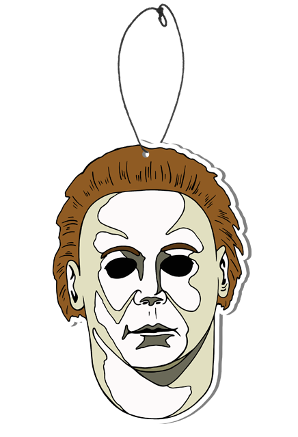 This is a Halloween H20 Michael Myers air freshener and it is a white face with brown hair and black eyes and has a plastic hanger.