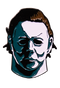 This is a Halloween 1978 Michael Myers enamel pin and it is white with brown hair.
