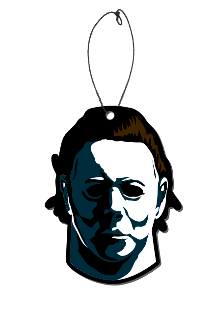 This is an air freshener with a picture of Michael Myers from the 1978 HALLOWEEN movie and he has a white face, dark hair and a plastic hanger.