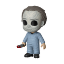 This is a Halloween Michael Myers 5 Star Funko and he has a white face, blue coveralls and a knife with blood on it.