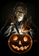 This is a Halloween movie Michael Myers sticker and he has a white face, is holding a knife and an orange pumpkin that has a smile face.