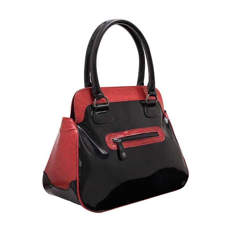 This is a Halloween Michael Myers vegan style handbag or purse that is shiny black and glitter red, with a zipper pocket on the back and two handles.
