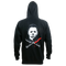 This is a Halloween Michael Myers hoodie that is black with a white face and bloody knives crossing.