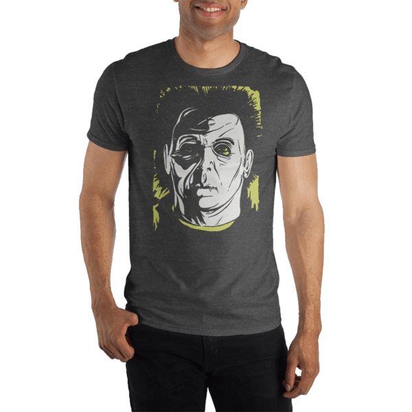 This is a grey Halloween Michael Myers shirt with a white face.