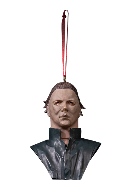 This is a Halloween II Michael Myers Christmas Ornament that has a white mask, green blue coveralls and a red ribbon hanger.