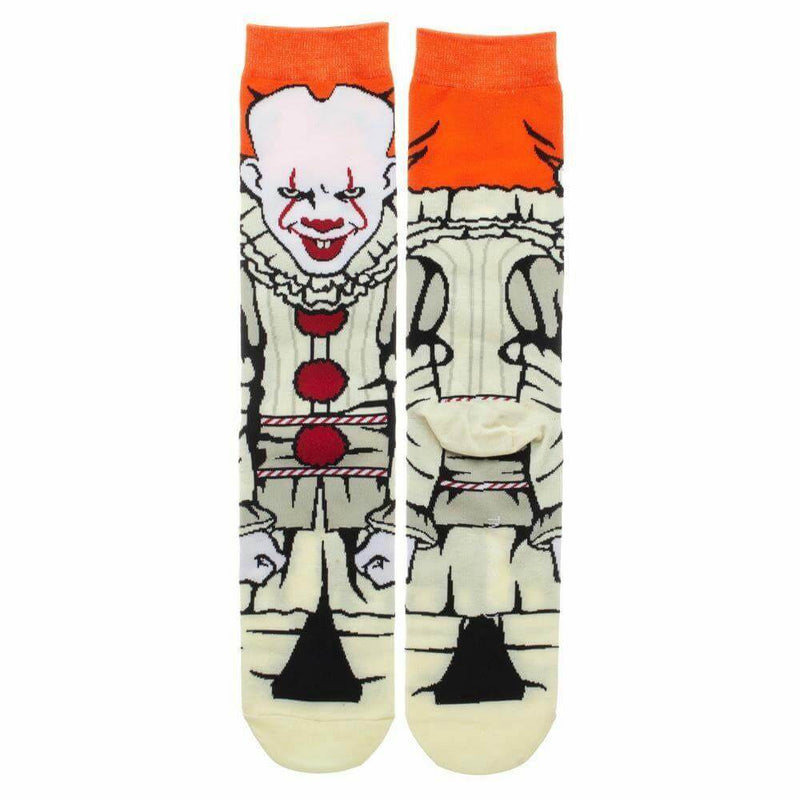 This is a 360 front and back view pair of socks from the movie It 2017 of Pennywise, who has orange har, red lips, white face and a clown suit with red balls.