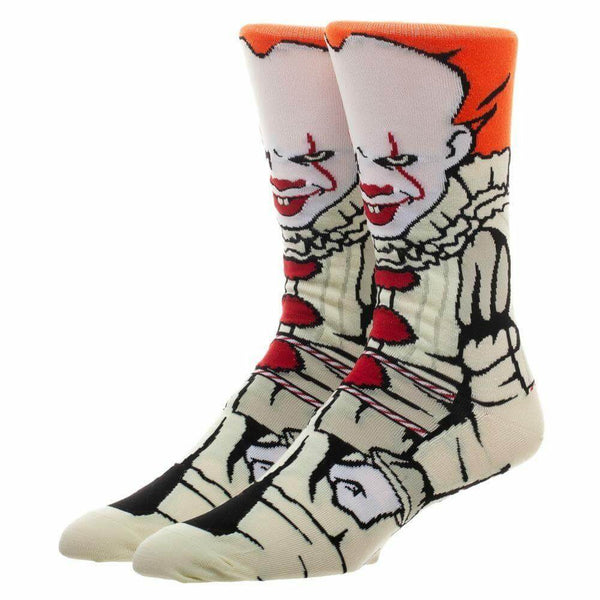 This is a 360 pair of socks from the movie It 2017 of Pennywise, who has orange har, red lips, white face and a clown suit with red balls.