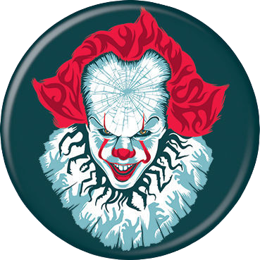 This is an It Chapter Two Pennywise button that is teal and he has a white cracked face, red hair, red lips and white neck poof.