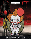 This is an It 2017 Pennywise chibi patch and he has a white clown suit with red balls, orange hair and a red balloon.