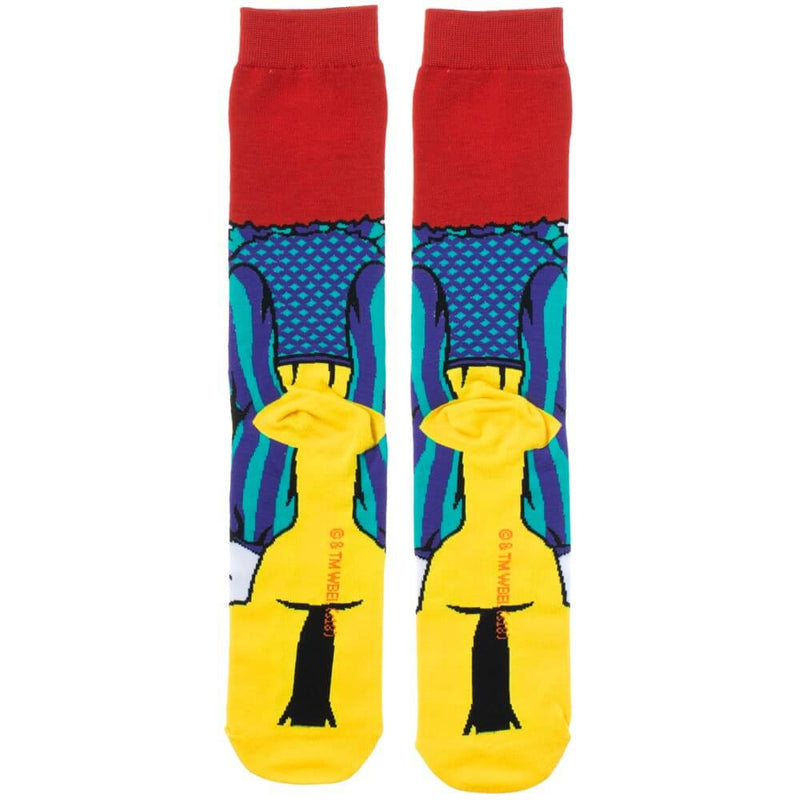 This is a pair of It 1990 Pennywise crew socks and he has red hair, a red nose, yellow and green clown suit with three red balls and they are printed 360.