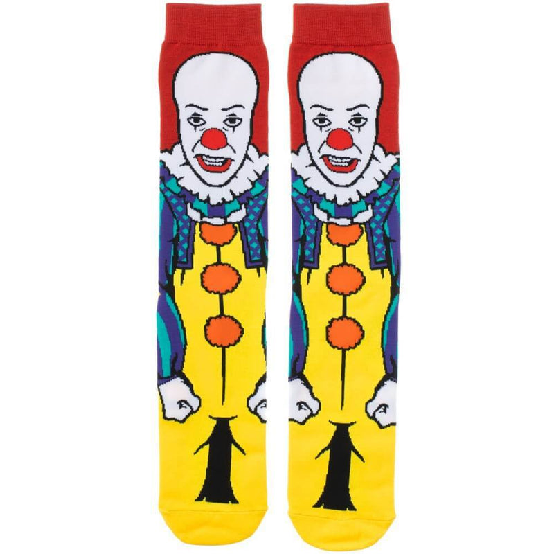 This is a pair of It 1990 Pennywise crew socks and he has red hair, a red nose, yellow clown suit with three red balls and they are printed 360.