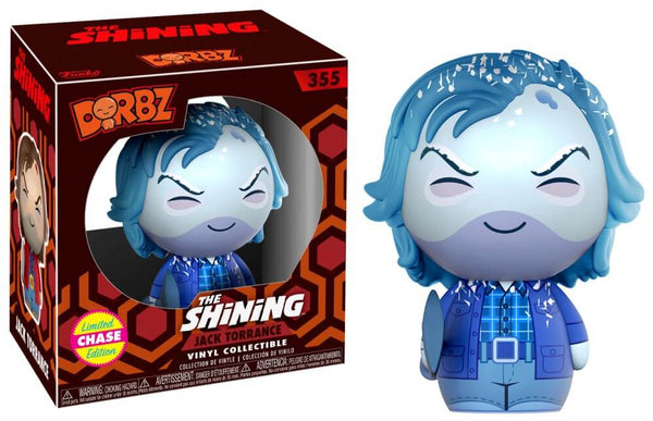 This is a Shining Jack Torrance Dorbz Chase Funko and he is frozen blue, with blue hair, blue jacket, blue pants and blue shirt.