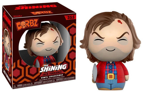 This is a Shining Jack Torrance Dorbz Funko and he has brown hair on a round head with a bloody cut, a red jacket, blue pants and a plaid shirt.