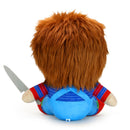This is a Child's Play Chucky Kidrobot HugMe vibrating plush and he has a striped shirt, red shoes, orange hair and is holding a silver knife.