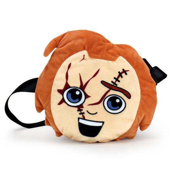 This is a Child's Play Chucky Kidrobot Phunny plush fanny pack bag and he has orange hair, cuts, stitches and a black strap.