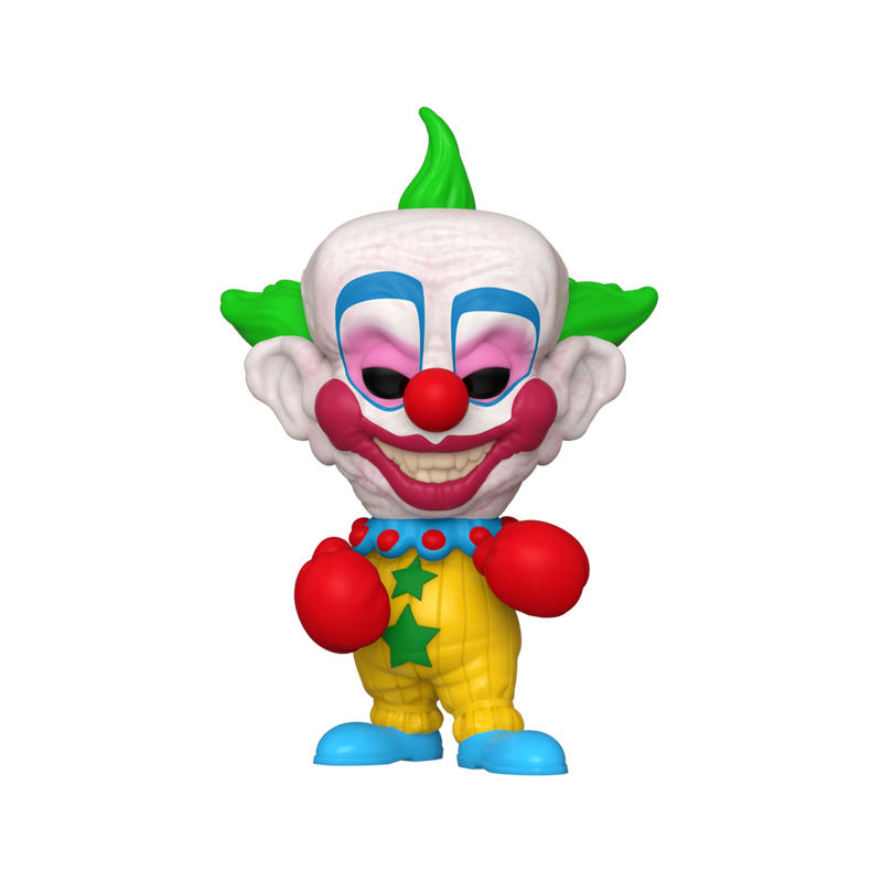 This is a Killer Klowns From Outer Space Pop Funko vinyl and Shorty has three green spikes for hair, a clown face with black eyes and red lips and nose and is wearing a yellow suit with two green stars, blue shoes and red boxing gloves.