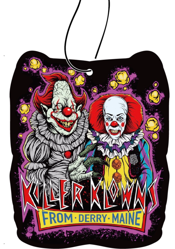 This is a Killer Klowns From Outer Space air freshener and it has two clowns with red hair and noses and popcorn.