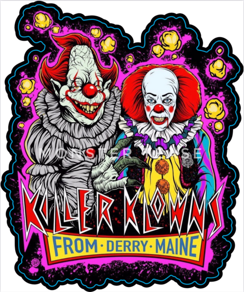 This is an It movie Pennywise sticker and he has red hair and nose and mentions Derry and he has a white face and yellow clown suit with red balls.